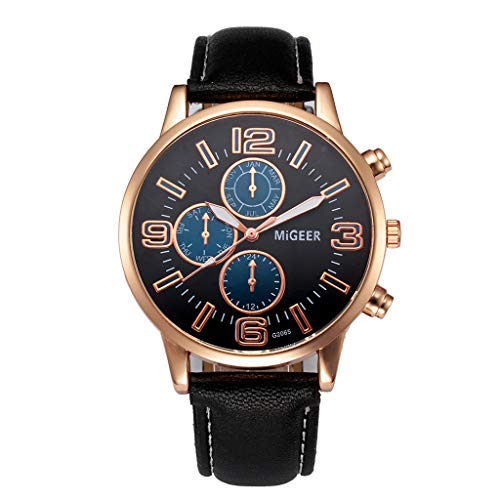 IG Invictus Klassische Neue Herrenuhr Armbanduhr Lederband Quarz Casual Uhren MIGEER Gürteluhr Mi Geer G2065 Uhr Meter ge 'Schwarz