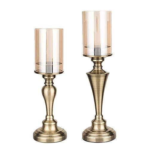Z3Z Moderner Kerzenständer Aus Metall Home Decoration Kupfer + Glas Schönes Aussehen Geeignet Für Mehrere Anlässe 2-teiliges Set