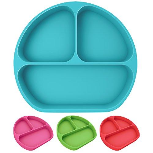 Teller mit Saugfuß für Babys und Kinder aus Silikon, rutschfest, bruchsicher, spülmaschinengeeignet, Silikonteller mit Unterteilung und Ansaugfunktion, Babyschale mit Saugnapf, BPA-frei (Blau)