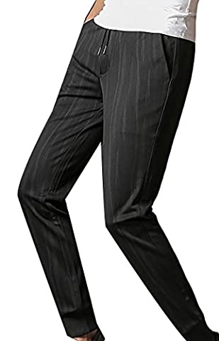 Fulok Mens Print Baggy Stretch Elastic Waist Jogger Sport Pants XX-Large Black3