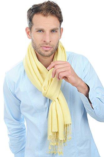 Pashmina 70% cachemire 30% soie, franges nouées main jaune pastel