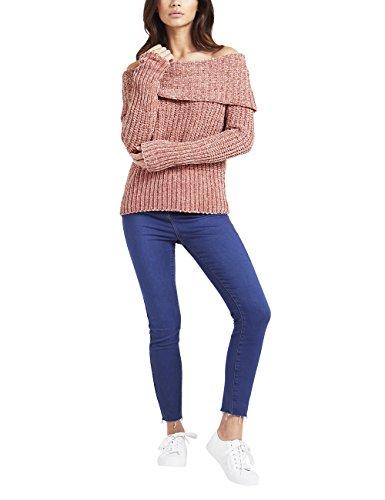 Lipsy Damen Chenille-Pullover mit Bardot-Ausschnitt Rosa EU 40 (UK 12) (Pullover Mit V-ausschnitt Chenille)