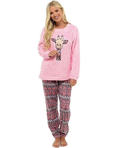 Pijama de Pijamas cómodos Pijamas Snuggle Pijamas cálidos Pijama Twosie Set | Desgaste de Lujo del salón Suave para Las Mujeres para Las Mujeres (16-18, Jirafa Rosa)
