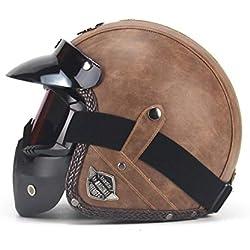 StageOnline Casco de Motocicleta Harley en Cuero de PU Chopper Casco de Motocicleta 3/4 Casco y Gafas de Moto Vintage Expuestos Vintage