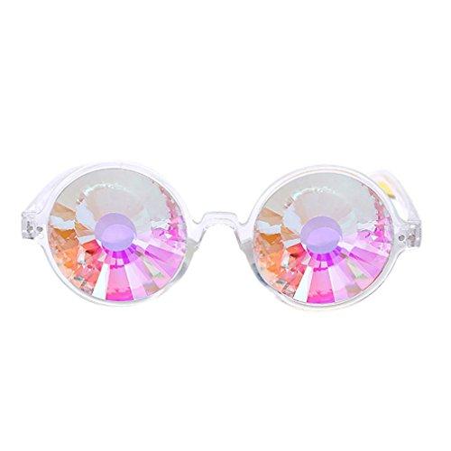 sunnymi Party Sonnenbrille Kaleidoskop Rave Festival,Bunte Gläser EDM,Modellierung Fotografie,Geeignet Für Gesichtsform Rundes Gesicht Langes Gesicht Quadratisches Gesicht Ovales Formgesicht (B, klar)