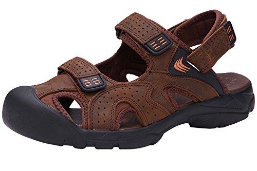 Dayiss® Herren Jungen Leder Sandalen Sport- & Outdoor Schuhe Sandaletten Braun
