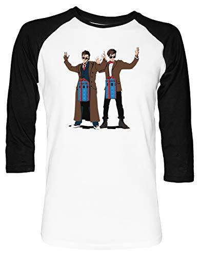 Doc Im EIN Box Tardis Liebhaber Unisex Baseball T-Shirt 2/3 Ärmel Herren Damen Weiß Schwarz