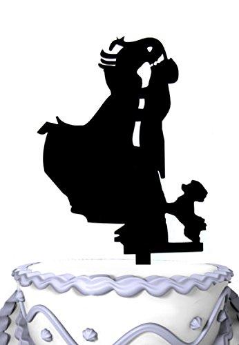 meijiafei Herr und Frau Hochzeit Tortenaufsatz, mit Hund, Groom Kissing Braut Unique Wedding Cake Topper, Topper mit PET -