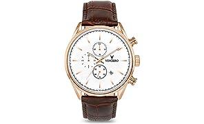 Vincero Herren Chrono S Chronograph Quarz Uhr Mit Lederband - Weiß/Roségold
