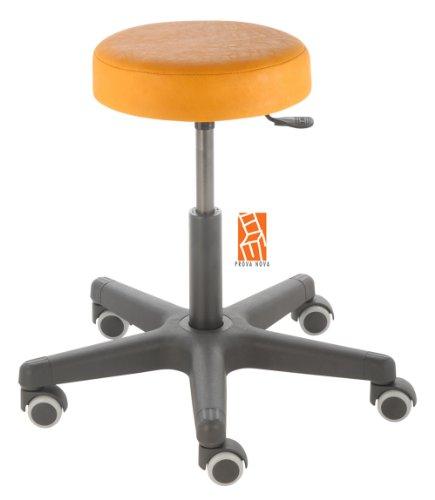 Arbeitshocker , Arzthocker, Drehhocker, Rollhocker Modell comfort, Hubbereich ca. 46 - 59 cm, Rollen mit weicher Radbandage, Sitzfarbe mais