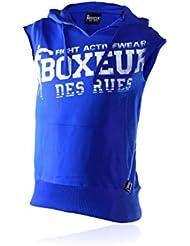 Boxeur Des Rues Fight Activewear Felpa Maniche Corte con Cappuccio e Stampa Uomo, Blu (Royal), L