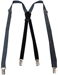 Navaksha Light Gray X-Back Solid Denim Adjustable Suspender