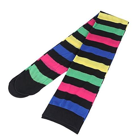 Tinksky Rainbow Strip Cuisse Chaussettes hautes Costume de clown Costume de jambe Accessoires de cosplay d'Halloween pour Carnival Party Props