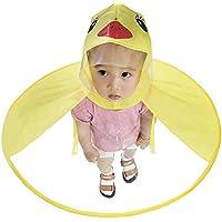 Chubasquero Impermeable para Niños Dibujos Animados de Pato, Poncho para Lluvia de Diseno Creativo UFO, Color Amarillo, Disponible en 3 Tallas, Talla S