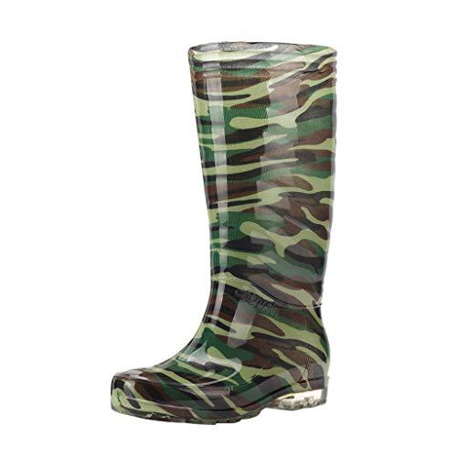 COZOCO Lässige Herren Camouflage rutschfeste, wasserdichte hohe Stiefel Freizeit Camouflage Flache wasserdichte (Grün,42 EU)