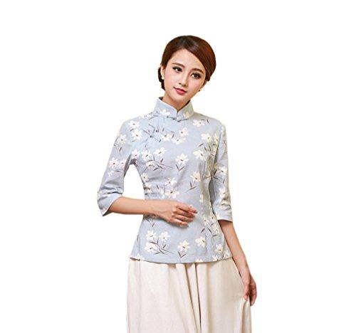 ACVIP Damen Retro Stehtkragen Blumen Muster Chinesische Stil Cheongsam Bluse Farbe2