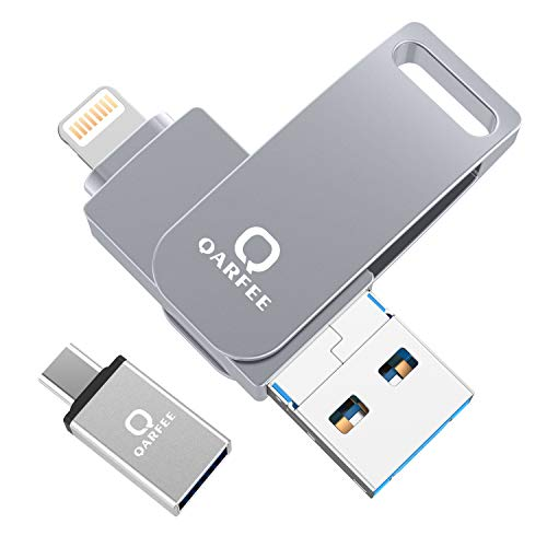 Qarfee USB Stick 32GB Für iPhone USB 3.0 Flash Drive USB Speicherstick Memory Stick kompatibel mit iPhone/iPad/USB/iOS/Micro USB/Type C Anschluss/Handy Tablet/PC, Hellgrau Iphone-usb-anschluss