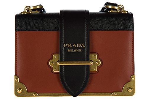 Prada Schultertasche Leder Damen Tasche Umhängetasche Bag Braun