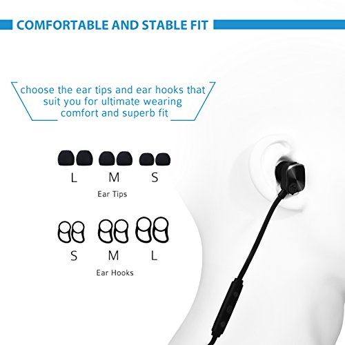 Bluetooth Headphones Mpow Magnetic Earbuds Wireless Headphones, [New Version] Stereo Sport Wireless Earphones Running Headset with Mic Hands-free Calling for iPhone, Huawei, LG and Other Android Cell Phones, Black (Magnetic Control, Bluetooth 4.1)