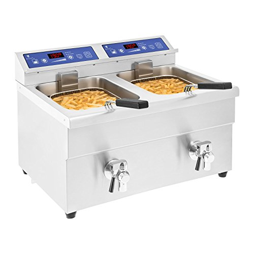 Royal Catering Fritteuse Gastro Induktion 2 x 10L Induktionsfritteuse RCIF-10DB mit Ablasshahn
