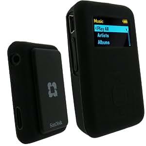 igadgitz Coque Etui Housse Pochette Case en Silicone de couleur Noir pour les lecteurs MP3 SanDisk Sansa Clip Plus (+)