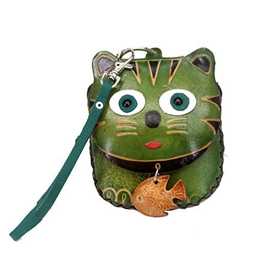 Kanggest Kitty Geldbörse Vintage Portemonnaie Frauen PU Leder Mini Geldbörsen Damen Geldbeutel mit Schutz Portmonee Geldtasche mit Reißverschluss(Grün) -