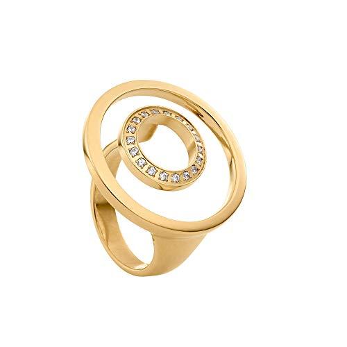 Heideman Ring Damen Ambio aus Edelstahl Gold farbend matt Damenring für Frauen mit Swarovski Stein Zirkonia (Gold Gelb Ring)