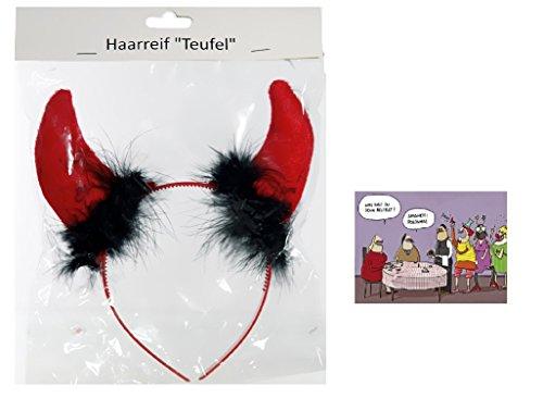 Teufelshörner mit Federn & Postkarte