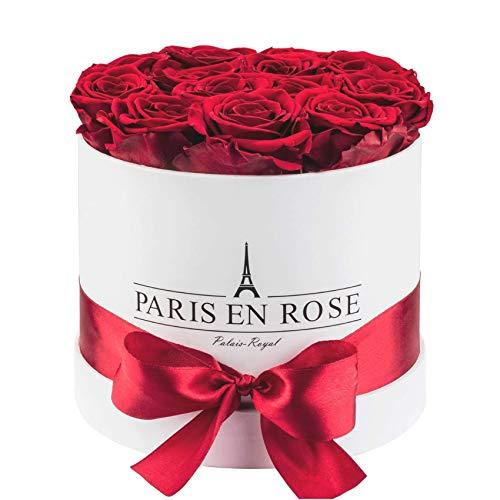 PARIS EN ROSE Rosenbox 'Palais-Royal' | weiße Flowerbox mit bordeauxroten Infinity Rosen | ca. 15...