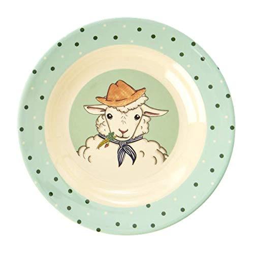Rice Kinderteller tief, Durchmesser 20cm, mit süßem Tierprint Schaf aus der Serie Animal Farm grün