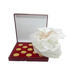 DOCOLASTRA Arras des Lebens in Gold mit Koffer und Satin in Säckchen, signalweiß, inklusive, für alle Hochzeiten und links.