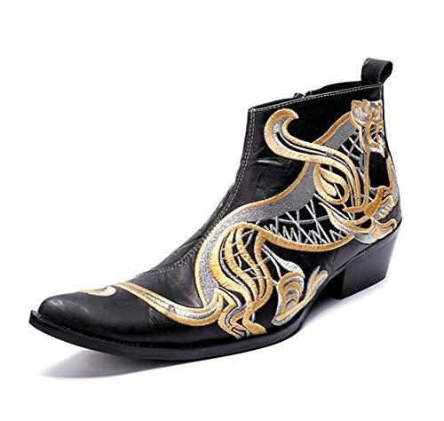 Herren Western Cowboy Stiefel Männer Cowboystiefel Lederstiefel Stiefeletten Spitzschuh Schuhe Schwarz Reißverschluss Stickerei Hochzeit Party Nachtclub Größe 37-46, Black - Western-stiefel Männer