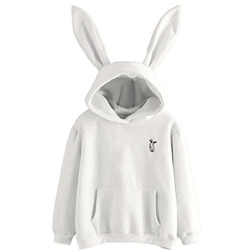 Damen Winterbluse&JYJMDamen Langarm Kaninchen Hoodie Sweatshirt Pullover Tops Bluse (XL, Weiß)