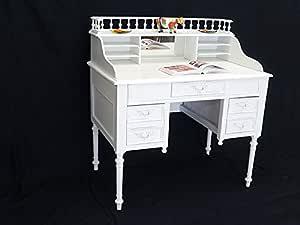 Sekretär Schreibtisch mit Aufsatz in weiß in Shabby Chic
