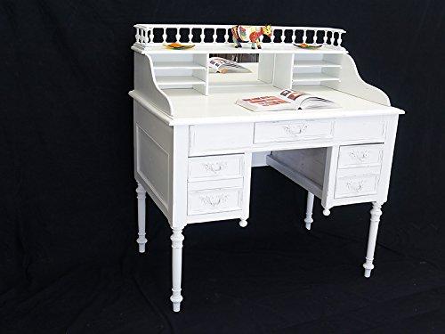 Sekretär Schreibtisch mit Aufsatz in weiß in Shabby Chic aus Massivholz (6093)