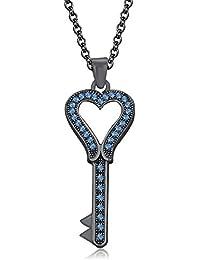 "Silvernshine 1.35 Ct Aquamarine Heart Key Pendant 18"" Chain Necklace In 14K Black Gold Fn"