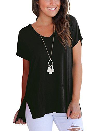 Damen Sommer Tshirts V Ausschnitt Kurzarm Loose Tops Schwarz L