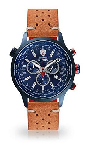 DETOMASO AURINO Montre pour Hommes Chronographe Chronographe Analogique Quartz Brun Racing Bracelet en Cuir Vintage Cadran Bleu foncé DT1061-M-844