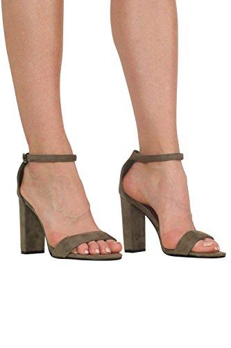 PILOT® faux suède talon bloc à peine là sandales à lanières vert kaki