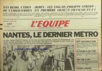 EQUIPE (L') [No 12394] du 14/03/1986 - SAN REMO - L'EDEN DE VANDERAERDEN - BERCY - LES ANGLAIS - PHILIPPE STREIFF - NANTES - FOOT - EGYPTE - COTE-D'IVOIRE - JUDO - BASKET - ESCRIME.