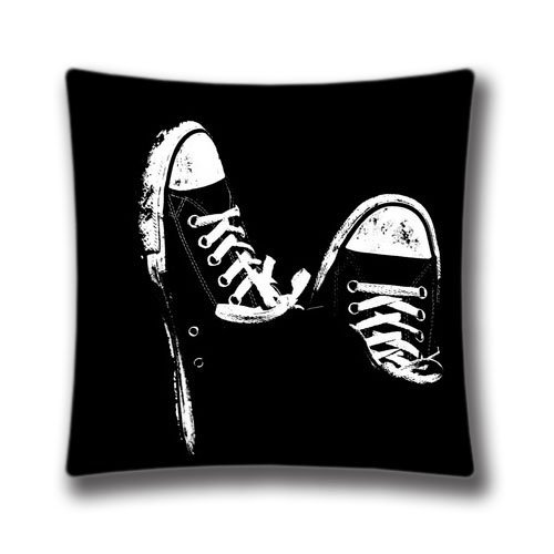 "Generic Decorative Twin Sides Throw Pillow Cover Pillowcase Cushion Cover Sneakers Black and White 18""x18"""