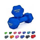 PROMIC  Neopren Hanteln Gewichte für Gymnastik Kurzhanteln- ideal für Aerobic & leichtes Fitnesstraining, 13 verschiedene Gewichte und Farben zur Auswahl (2er-Set), 2 x 2.5 kg, Dunkelblau