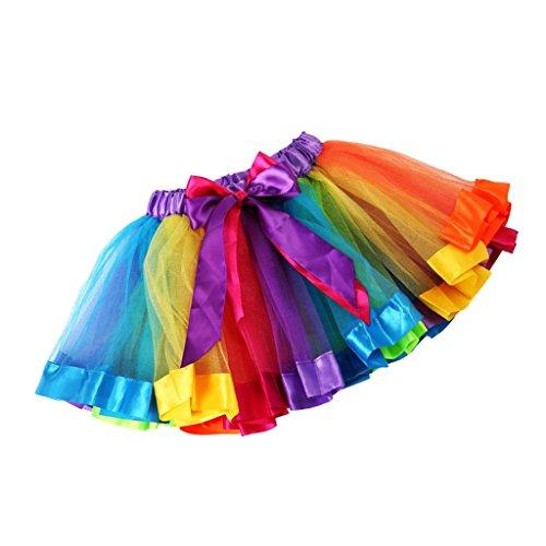 Phenovo Kids Handmade Colorful Tutu Skirt Girls Rainbow Tulle Tutu...