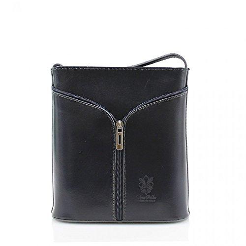 LeahWard® Damen Mode Essener KleinQualität Italian Leder Umhängetasche CWV0026 D. Grau H20cm x W18cm x D7cm