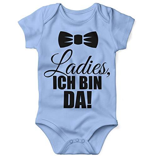 Mikalino Babybody mit Spruch für Jungen Mädchen Unisex Kurzarm Ladies, ich Bin da! | handbedruckt in Deutschland | Handmade with Love, Farbe:Sky, Grösse:62