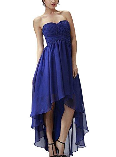 Find Dress Femme Elégant Sexy Robe de Soirée/Cérémonie/Mariage/Cocktail Robe Bustier Asymétrique en Mousseline de Soie Bleu
