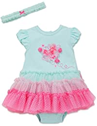 Little Me Butterfly One Piece Tutu Popover Dress with Headband Aqua 6 Months