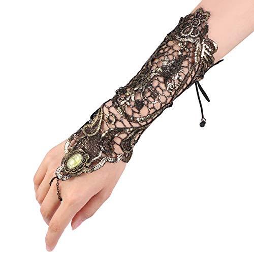 Kostüm Gold Ringe - FENICAL, lange Handschuhe, Retro-Stil, Spitze, Handschuh im Steampunk-Stil, strapazierfähig, für Goth-Kostüme (Gold)
