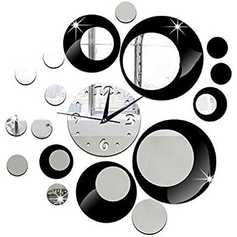 Yacool ® Moderna con estilo DIY 3D de pared de acrílico de la decoración etiqueta engomada de gran tamaño del reloj de espejo de la sala de estar (Negro)