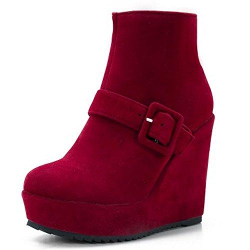 TAOFFEN Damen Mode-Event Schnalle Hohen Absätzen Knöchelriemchen Reißverschluss Keilabsatz Elegant Chelsea Stiefel Rotwein